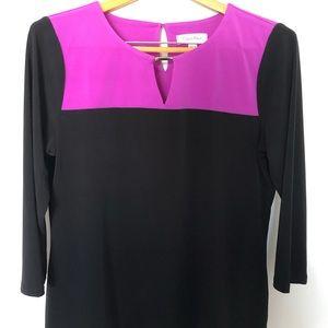 "Calvin Klein Black/Fuchsia Top With 3/4"" Sleeves"
